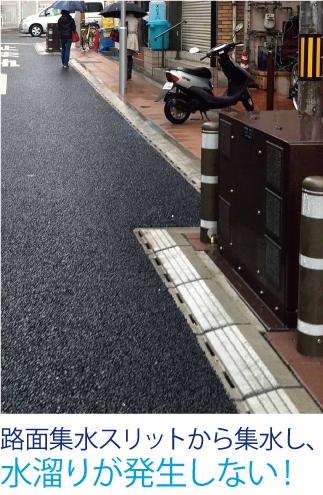 ライン導水ブロックで水溜まり解消