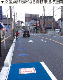 交差点部で狭くなる自転車通行空間